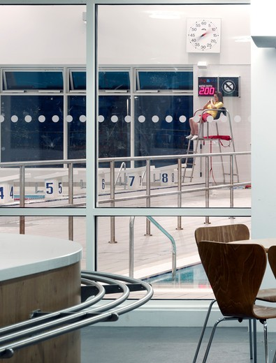 Stock Photo: 1801-70645 Watford Woodside Leisure Centre - Cafe Window  Life Guard