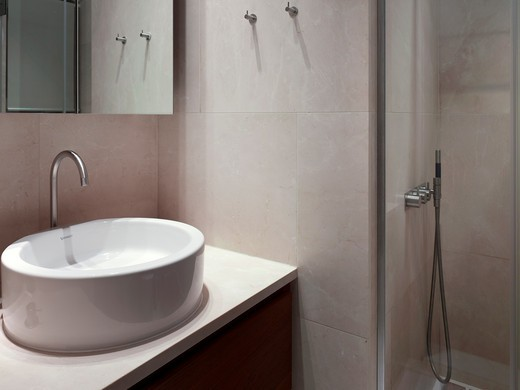 Stock Photo: 1801-70857 Bathroom  Stone  Sink And Shower - Coppice Drive  Refurbished Edwardian London Family House