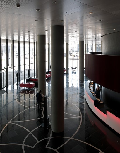 Stock Photo: 1801-71014 Porta Fira Towers Toyo Ito And B720 Arquitectos Barcelona Spain 2010 Hotel And Office Building  Interior View Of Reception Area Showing Concrete Pillars And Marble Floor