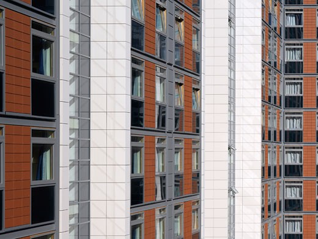 THAMES VALLEY UNIVERSITY, ST MARYS ROAD, LONDON, W5 EALING, UNITED KINGDOM, BUILDING / HALLS DETAIL, CAREY JONES ARCHITECTS : Stock Photo