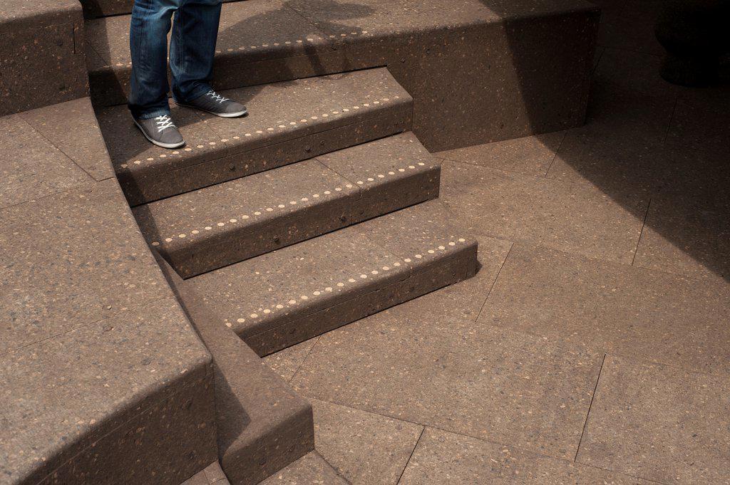 Stock Photo: 1801-72059 Serpentine Pavilion 2012, London, United Kingdom. Architect Herzog & De Meuron and Ai Weiwei, 2012. Detail of the cork steps.