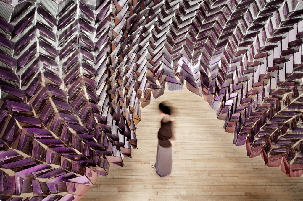 Changing Room, Chicago, United States. Architect Easton + Combs Architects, 2011. Digital fabrication, portable, lightweight semitransparent dichroic polycarbonate surface. : Stock Photo