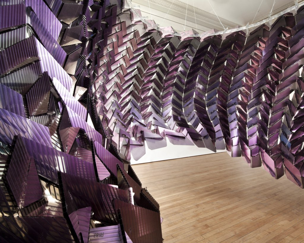 Stock Photo: 1801-72153 Changing Room, Chicago, United States. Architect Easton + Combs Architects, 2011. Digital fabrication, portable, lightweight semitransparent dichroic polycarbonate surface.