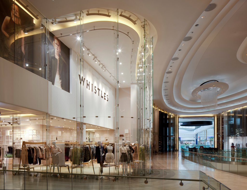 Whistles Flagship Store, London, United Kingdom. Architect APA Ltd, 2010. Internal view from the Westfield. : Stock Photo