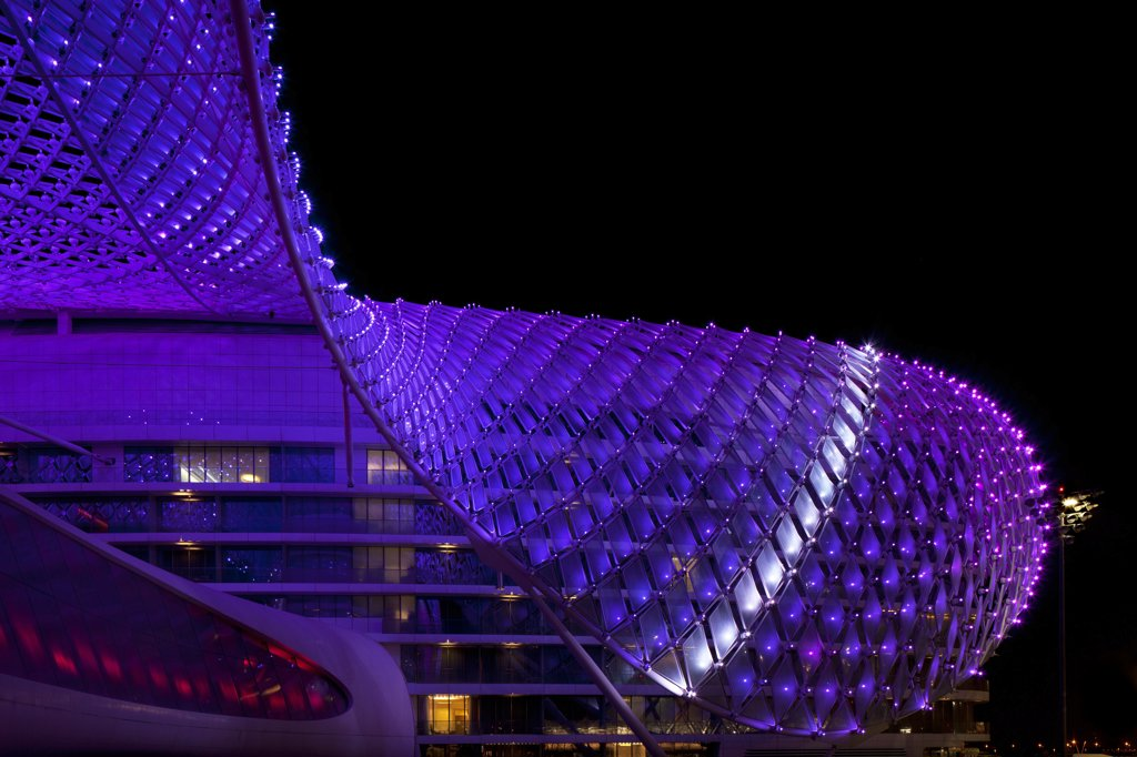 Yas Hotel, Abu Dhabi, United Arab Emirates. Architect Asymptote Architecture, 2011. External view. : Stock Photo