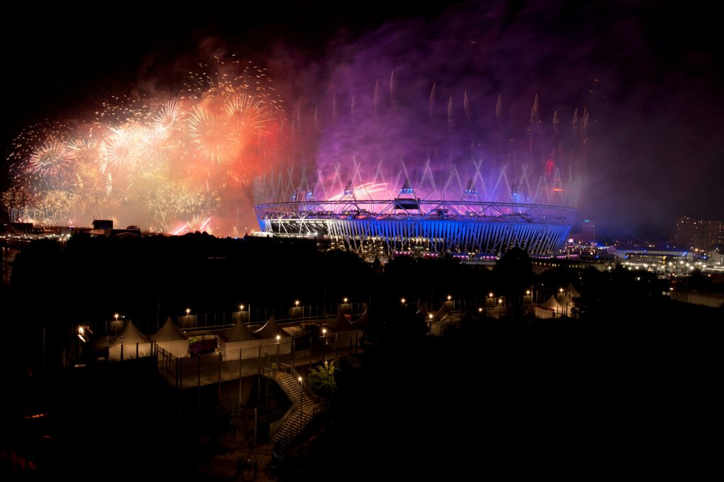 Stock Photo: 1801-72628 Olympic Stadium, London, United Kingdom. Architect Populous, 2102. Opening of the 30th Olympiad in London, taken from Wick Lane Wharf with the cooperation of Development Securities.