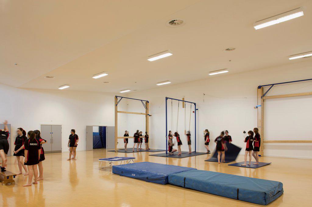 Stock Photo: 1801-72930 Trinity School Sports Hall, Newbury, United Kingdom. Architect ADP Architects Ltd, 2012. Interior view of gym.