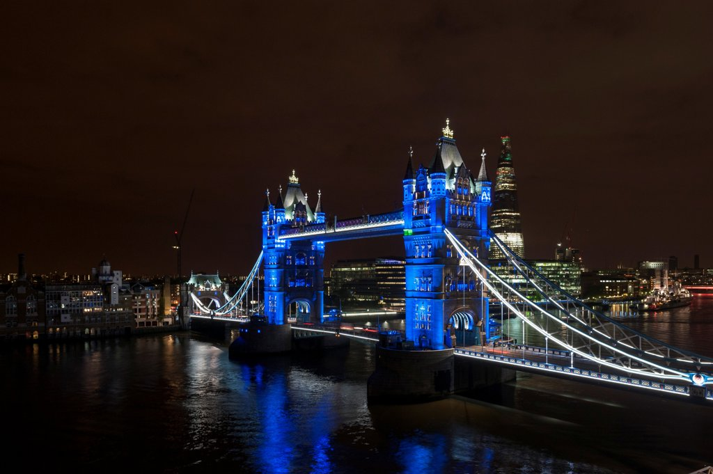Tower Bridge Re-Lighting, Bridge, Europe, United Kingdom,2012, Horace Jones. View from the Guoman Hotel with blue LED setting. : Stock Photo
