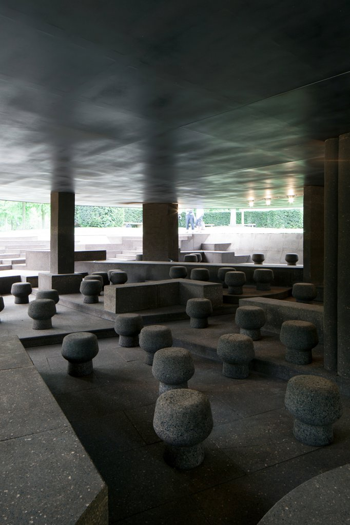 Stock Photo: 1801-73636 Serpentine Pavilion 2012, Temporary Pavilion, Europe, United Kingdom,2012, Herzog & De Meuron and Ai Wei Wei. Interior view of the pavilion, showing the cork stools and benches.