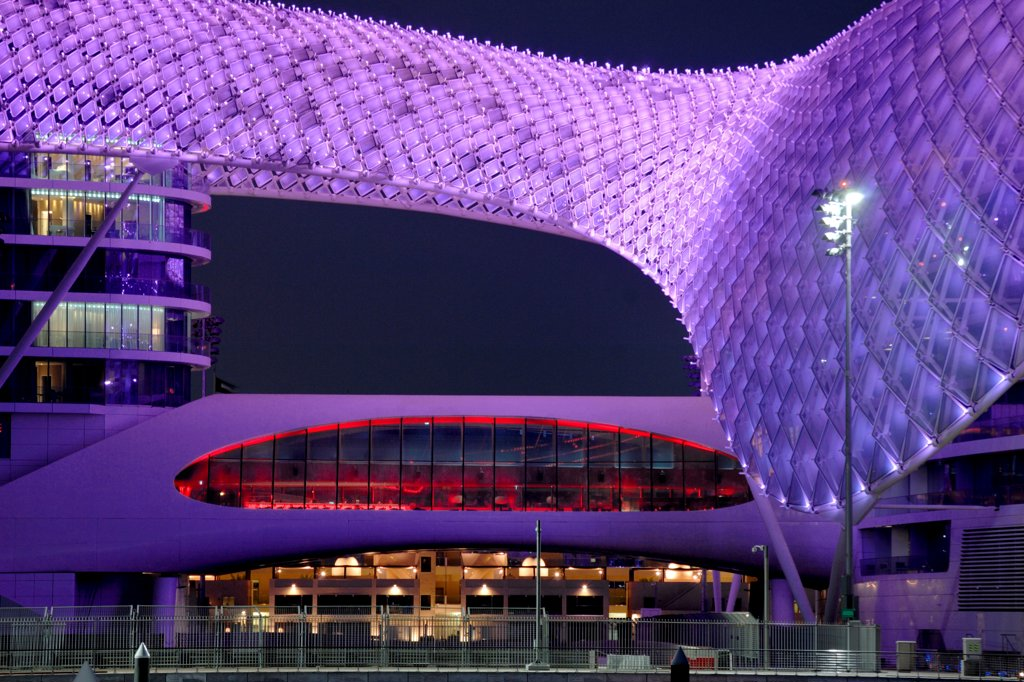 Stock Photo: 1801-73675 The Yas Hotel, Asymptote, Hani Rashid and Lise Anne Couture, Abu Dhabi, United Arab Emirates 2010 outside view by night