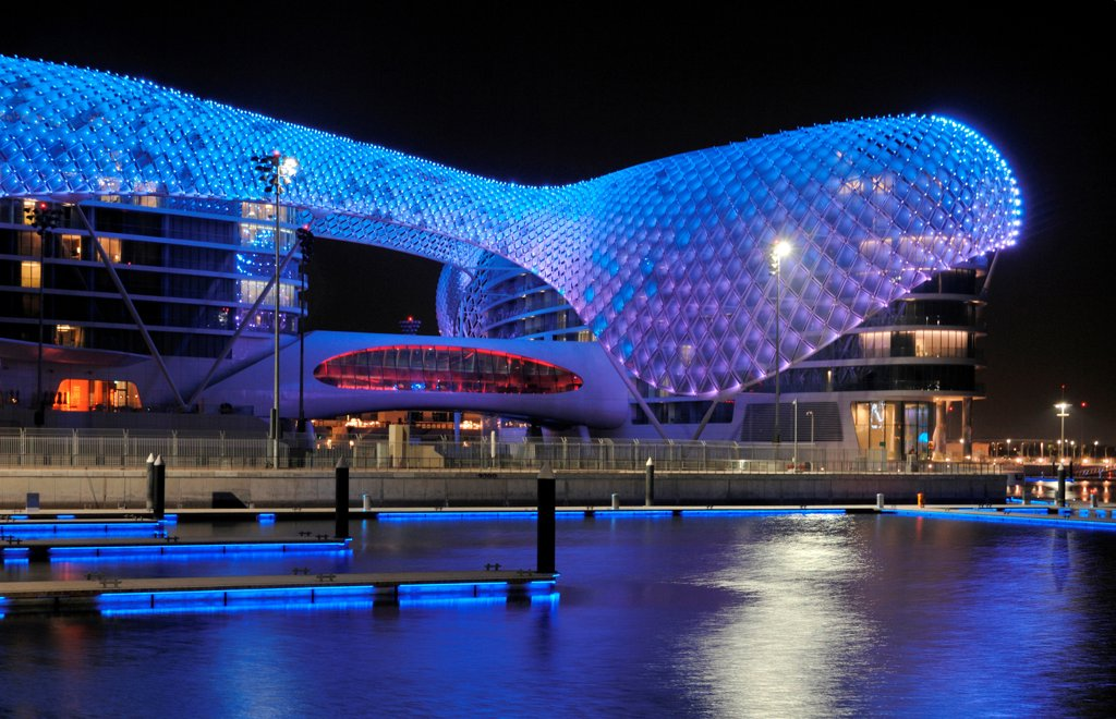 Stock Photo: 1801-73677 The Yas Hotel, Asymptote, Hani Rashid and Lise Anne Couture, Abu Dhabi, United Arab Emirates 2010 outside view by night