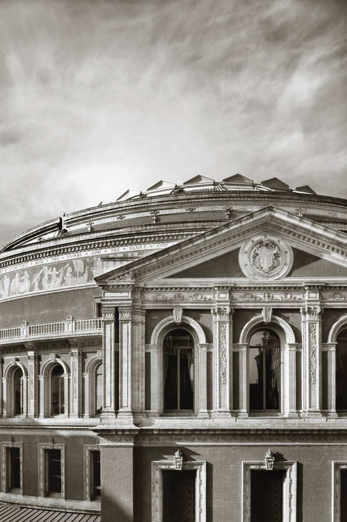 Stock Photo: 1801-73783 Royal Albert Hall, Concert Hall, Europe, United Kingdom,1871,  Captain Francis Fowke and Major-General Henry Y.D. Elevated view of the east facade showing columns, arches, mosaic frieze and wrought-iron dome roof.
