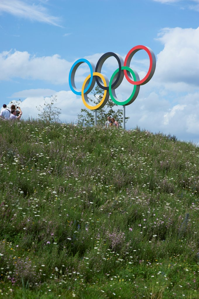 London 2012 Olympic Park, Sports Centre, Europe, United Kingdom,2012, Various. Olympic Rings with people taking pictures. : Stock Photo