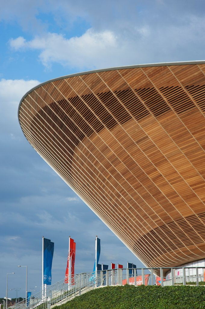 Stock Photo: 1801-73796 The Velodrome, London Olympics 2012, Sports Centre, Europe, United Kingdom,2012, Hopkins Architects Partnership LLP. Exterior.