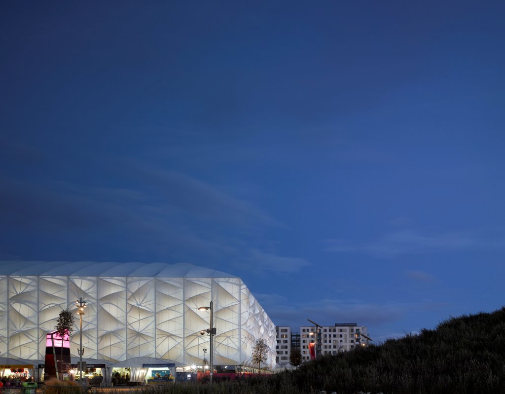 Stock Photo: 1801-73798 Basketball Arena, London 2012 Olympics, Sports Centre, Europe, United Kingdom,2012, Wilkinson Eyre Architects. Dusk shot.