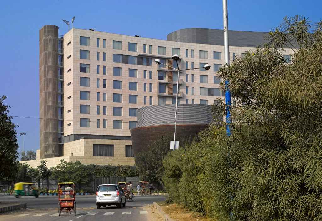 Stock Photo: 1801-74075 The Westin Hotel, Gurgaon, India. Architect: Studio U+A, 2010. Overall view from nearby street.