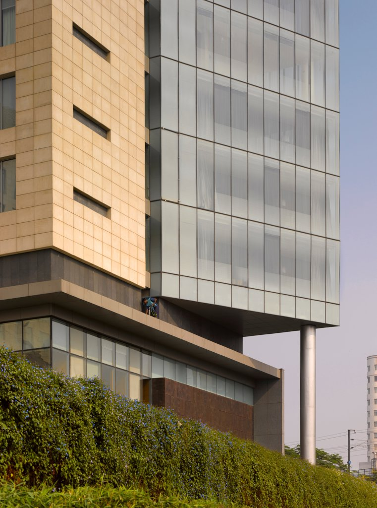 The Westin Hotel, Gurgaon, India. Architect: Studio U+A, 2010. Exterior detail. : Stock Photo