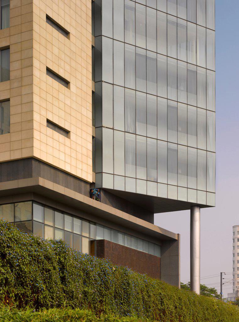 Stock Photo: 1801-74079 The Westin Hotel, Gurgaon, India. Architect: Studio U+A, 2010. Exterior detail.