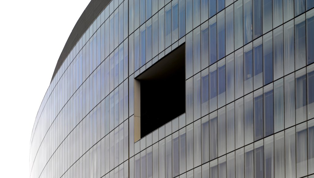 Stock Photo: 1801-74080 The Westin Hotel, Gurgaon, India. Architect: Studio U+A, 2010. Detail of curved glass facade.