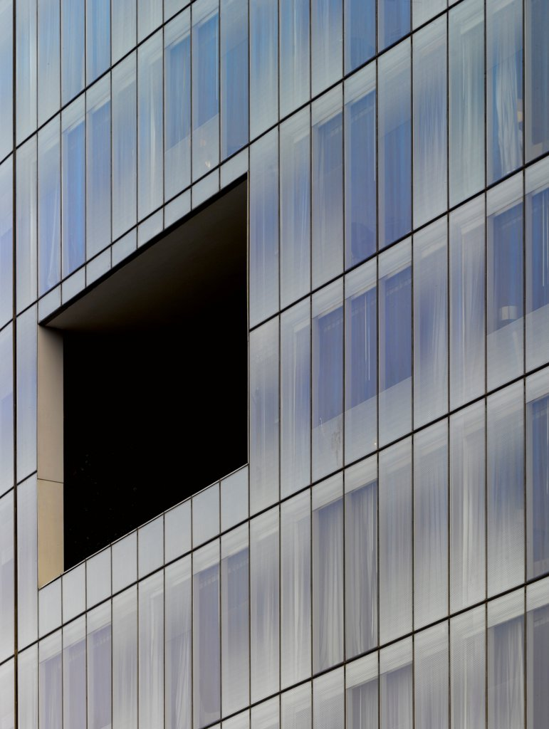 Stock Photo: 1801-74081 The Westin Hotel, Gurgaon, India. Architect: Studio U+A, 2010. Detail of curved glass facade.