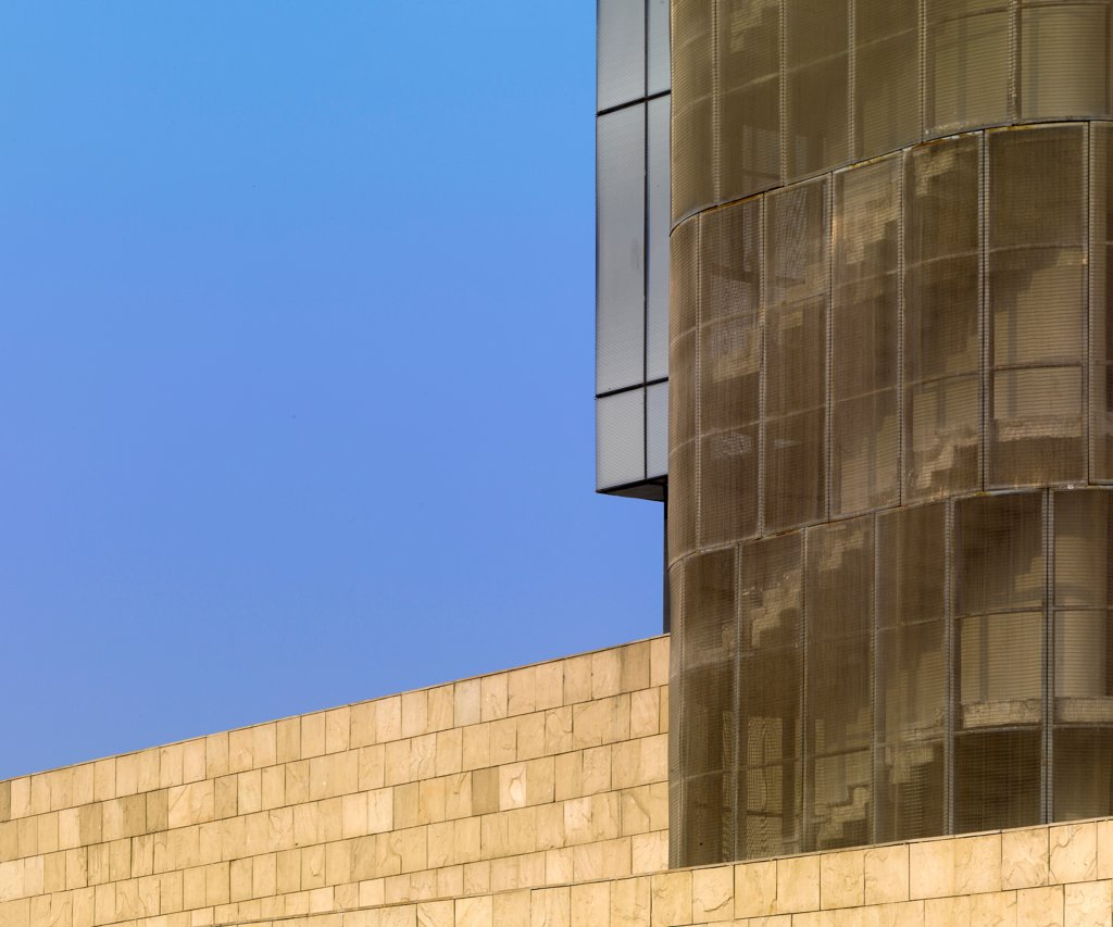 Stock Photo: 1801-74082 The Westin Hotel, Gurgaon, India. Architect: Studio U+A, 2010. Exterior detail.