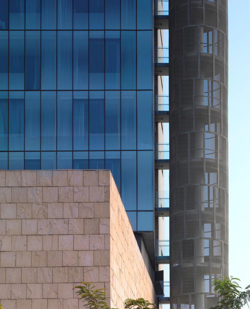 Stock Photo: 1801-74083 The Westin Hotel, Gurgaon, India. Architect: Studio U+A, 2010. Exterior detail.
