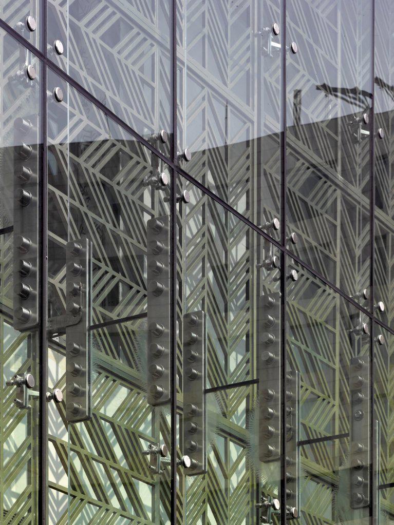 Stock Photo: 1801-74086 The Westin Hotel, Gurgaon, India. Architect: Studio U+A, 2010. Detail of glazing.