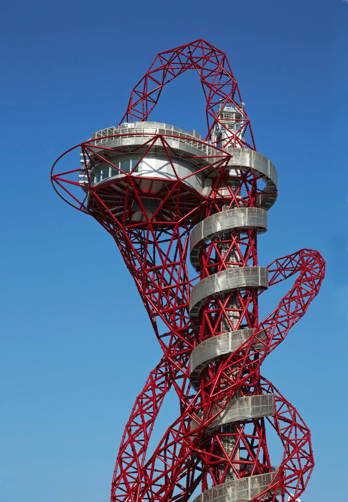 The Orbit, London 2012 Olympics, London, United Kingdom. Architect Anish Kapoor, 2012. View from below. : Stock Photo