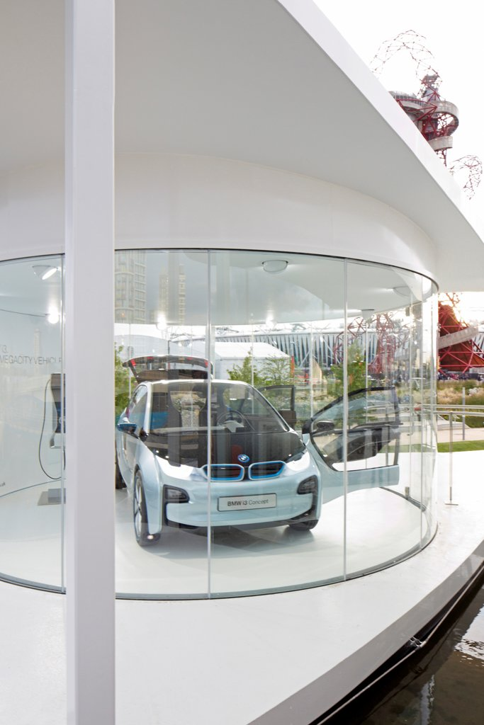 Stock Photo: 1801-74226 BMW Group Pavilion London 2012, London, United Kingdom. Architect: Serie Architects, 2012. Car display 'pod' on upper deck.