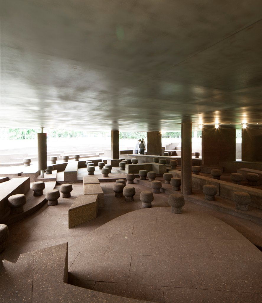 Serpentine Pavilion 2012, London, United Kingdom. Architect: Herzog & De Meuron and Ai Wei Wei, 2012. Interior view of the pavilion, showing the cork stools and benches. : Stock Photo