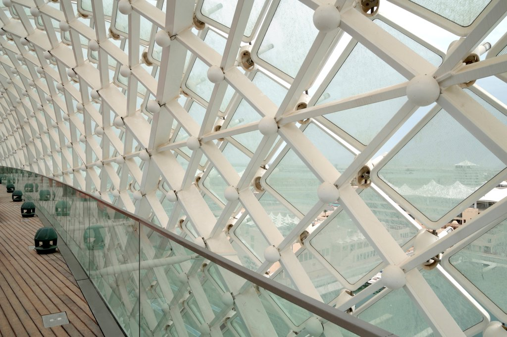 Yas Hotel, Abu Dhabi, United Arab Emirates. Architect: Asymptote, Hani Rashid, Lise Anne Couture, 2010. Detail of glass and led skin. : Stock Photo