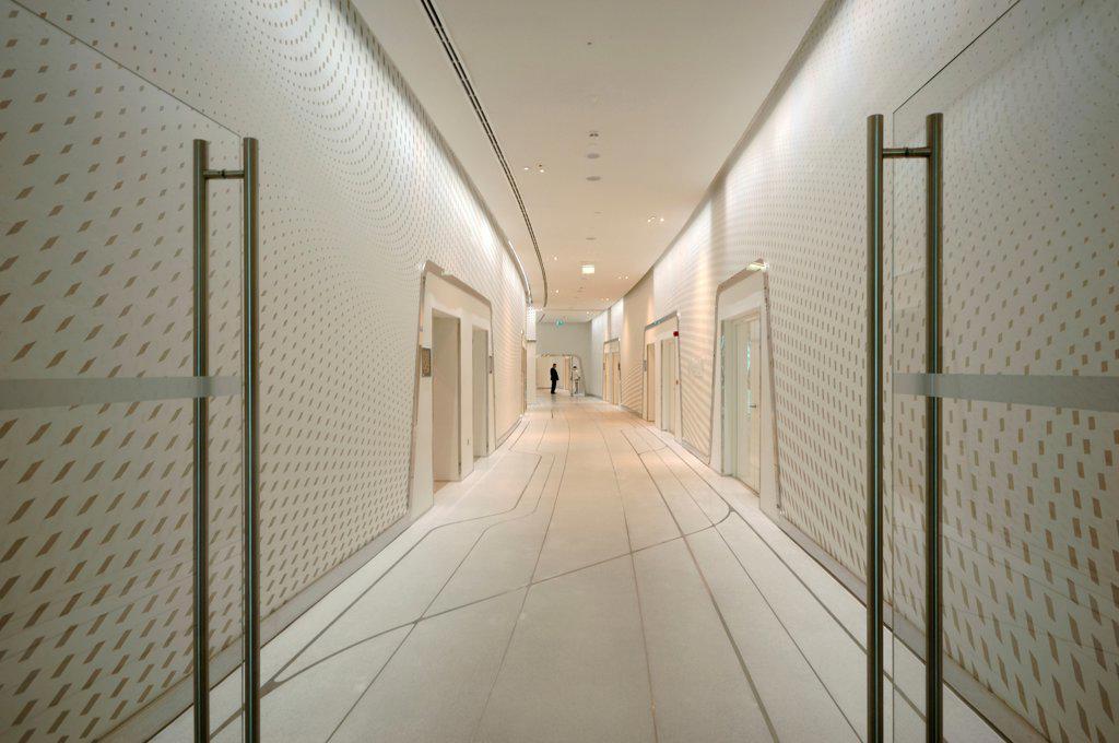 Stock Photo: 1801-74370 Yas Hotel, Abu Dhabi, United Arab Emirates. Architect: Asymptote, Hani Rashid, Lise Anne Couture, 2010. View of corridor.