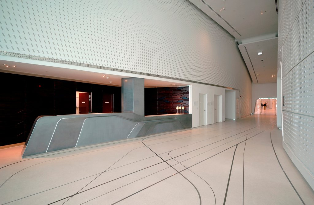 Stock Photo: 1801-74371 Yas Hotel, Abu Dhabi, United Arab Emirates. Architect: Asymptote, Hani Rashid, Lise Anne Couture, 2010. View of ballroom lobby.