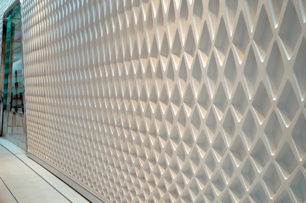 Stock Photo: 1801-74372 Yas Hotel, Abu Dhabi, United Arab Emirates. Architect: Asymptote, Hani Rashid, Lise Anne Couture, 2010. Detail of wall.