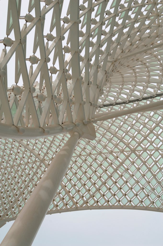 Stock Photo: 1801-74375 Yas Hotel, Abu Dhabi, United Arab Emirates. Architect: Asymptote, Hani Rashid, Lise Anne Couture, 2010. Detail of the skin.