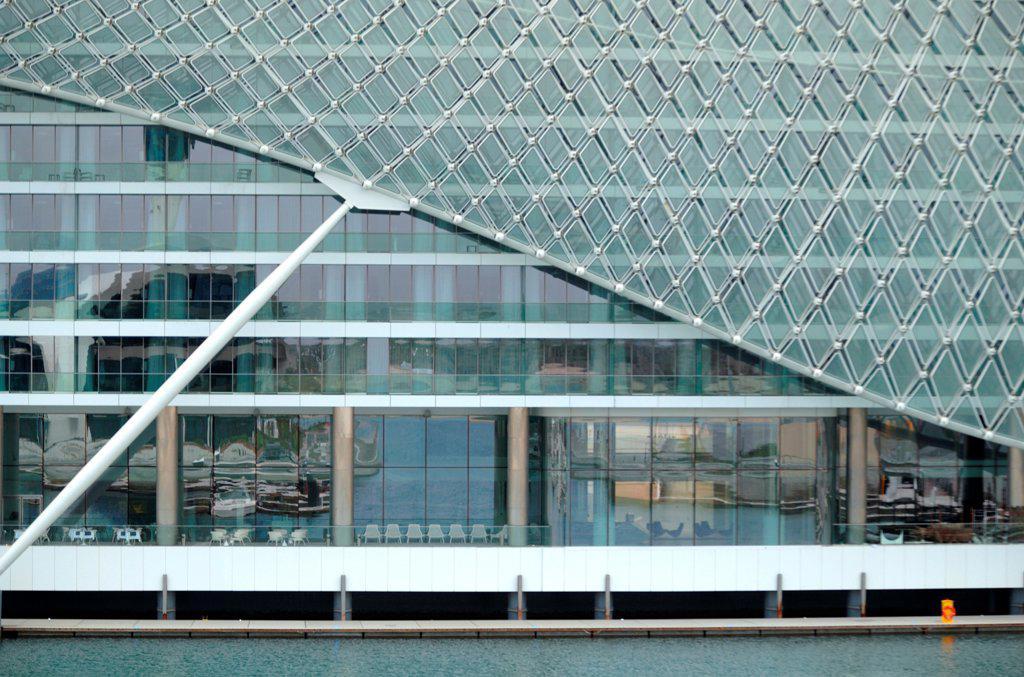Yas Hotel, Abu Dhabi, United Arab Emirates. Architect: Asymptote, Hani Rashid, Lise Anne Couture, 2010. Detail of facade. : Stock Photo