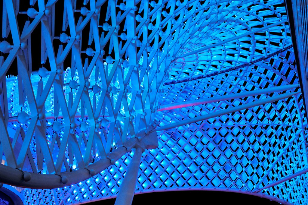 Stock Photo: 1801-74398 Yas Hotel, Abu Dhabi, United Arab Emirates. Architect: Asymptote, Hani Rashid, Lise Anne Couture, 2010. Detail of blue LED skin.