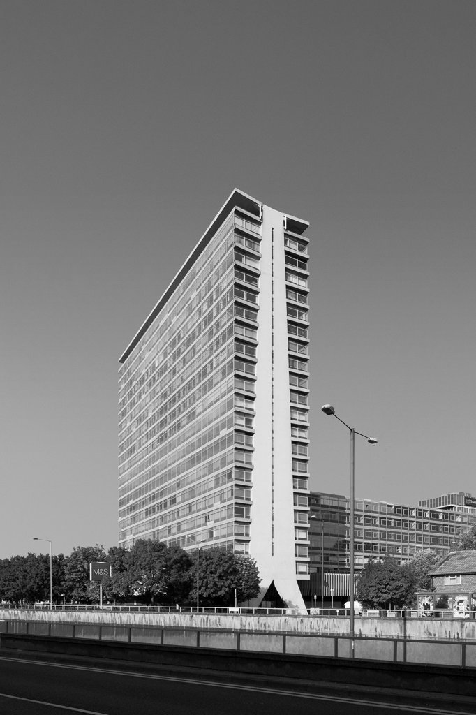 Stock Photo: 1801-74495 Tolworth Tower, Tolworth, United Kingdom. Architect: Richard Seifert, 1964. Oblique view.