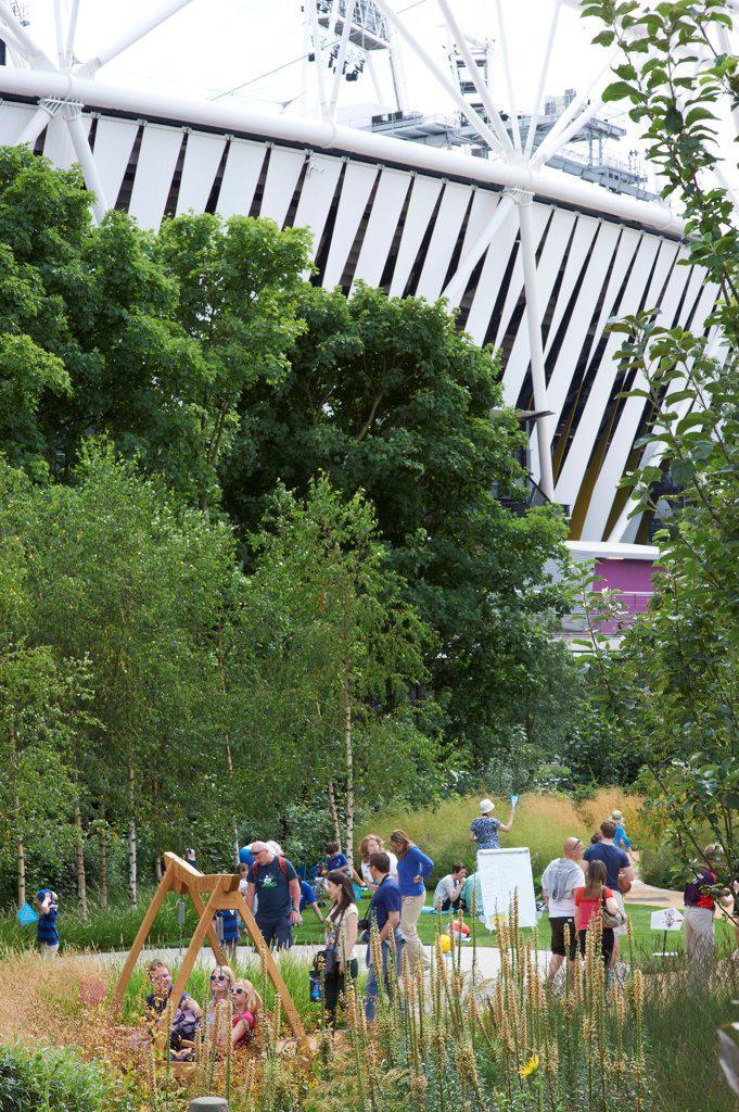 Stock Photo: 1801-74504 London 2012 Olympic Park, London, United Kingdom. Architect: Various, 2012. Stadium with landscaping.