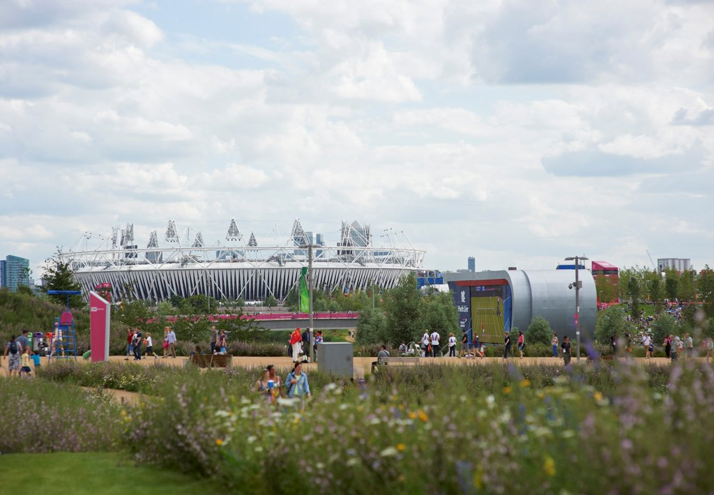 Olympic Stadium, London Olympics 2012, London, United Kingdom. Architect: Populous , 2012. Exterior. : Stock Photo