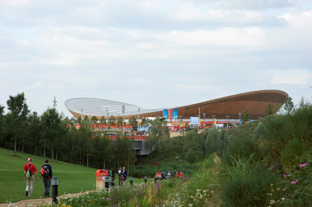 The Velodrome, London Olympics 2012, London, United Kingdom. Architect: Hopkins Architects Partnership LLP, 2012. Exterior. : Stock Photo