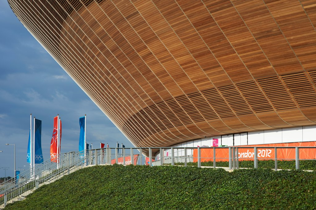 Stock Photo: 1801-74512 The Velodrome, London Olympics 2012, London, United Kingdom. Architect: Hopkins Architects Partnership LLP, 2012. Exterior.