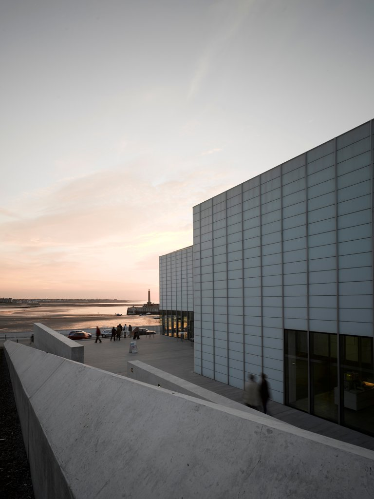 Stock Photo: 1801-74533 Turner Contemporary Gallery, Margate, United Kingdom. Architect: David Chipperfield Architects Ltd, 2011. Looking west with sunset.