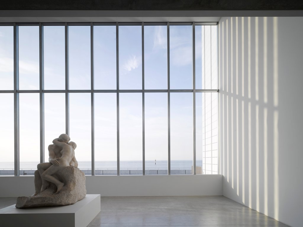 Stock Photo: 1801-74544 Turner Contemporary Gallery, Margate, United Kingdom. Architect: David Chipperfield Architects Ltd, 2011. Main lobby looking north out to sea.