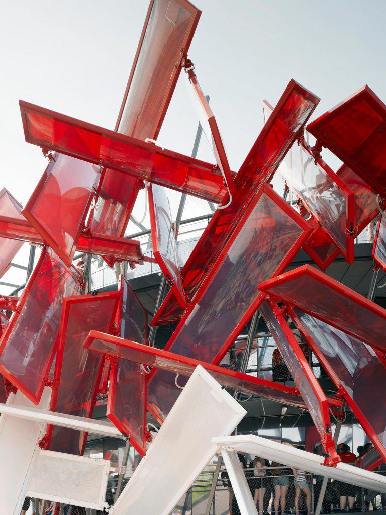 Coca-Cola Beatbox, London 2012, London, United Kingdom. Architect: Pernilla & Asif, 2012. Detail view of structure. : Stock Photo