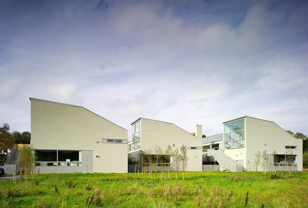 Cavan College, Cavan, Ireland. Architect: McCullough Mulvin , 2006. View of East facade showing three blocks and surrounding landscape. : Stock Photo