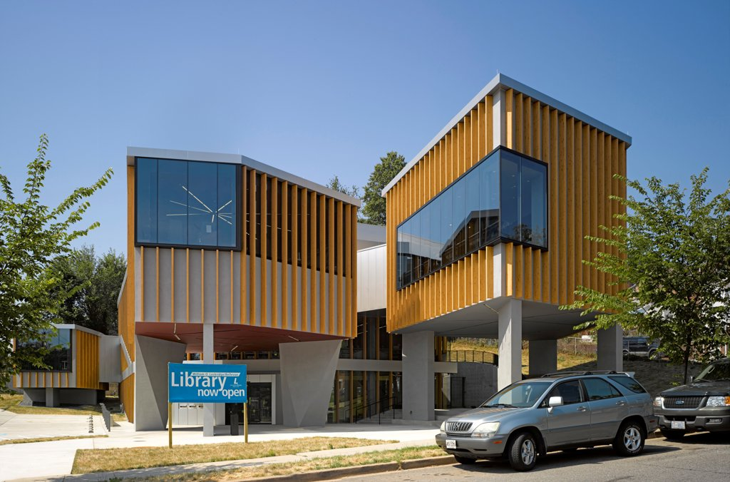 Stock Photo: 1801-74844 The William O. Lockridge/Bellvue Library, Washington, United States. Architect: Adjaye Associates, 2012. Overall exterior view.