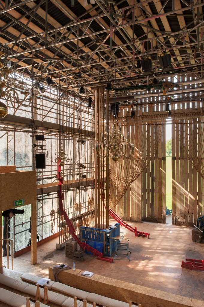 Stock Photo: 1801-75046 Theatre on the Fly, Chichester Festival Theatre, Chichester, United Kingdom. Architect: Assemble, 2012. Interior of theatre from audience perspective.