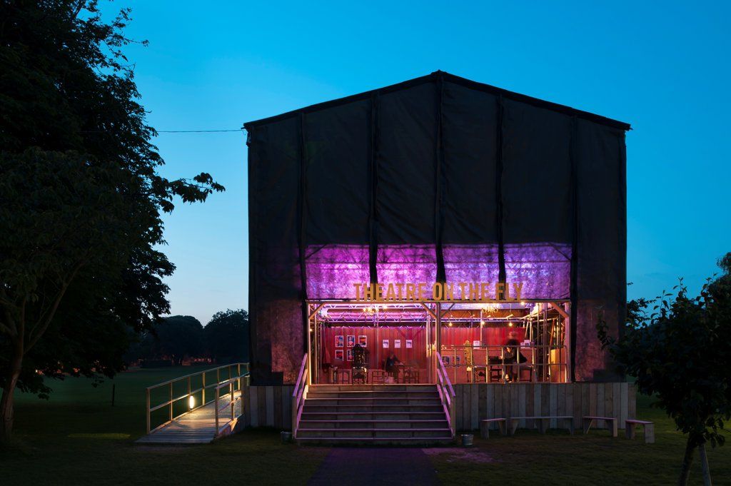 Theatre on the Fly, Chichester Festival Theatre, Chichester, United Kingdom. Architect: Assemble, 2012. Front view of the theatre. : Stock Photo