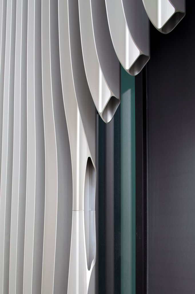 Stock Photo: 1801-75239 JOH3, Berlin, Germany. Architect: J. Mayer H., 2012. Extruded steel facade detail.